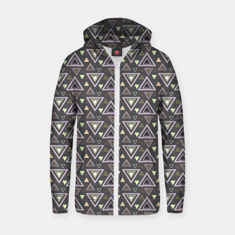 Miniaturka Ash gray triangles pattern, geometric artwork with colorful shapes precisely arranged Zip up hoodie, Live Heroes