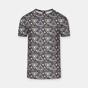 Thumbnail image of Ash gray triangles pattern, geometric artwork with colorful shapes precisely arranged T-shirt, Live Heroes