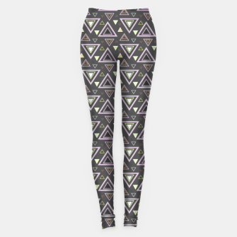 Thumbnail image of Ash gray triangles pattern, geometric artwork with colorful shapes precisely arranged Leggings, Live Heroes