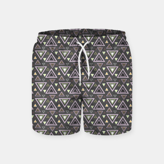 Thumbnail image of Ash gray triangles pattern, geometric artwork with colorful shapes precisely arranged Swim Shorts, Live Heroes