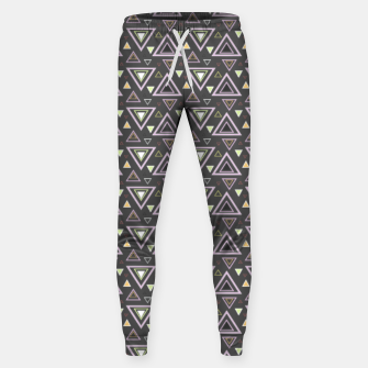 Thumbnail image of Ash gray triangles pattern, geometric artwork with colorful shapes precisely arranged Sweatpants, Live Heroes