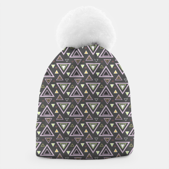 Thumbnail image of Ash gray triangles pattern, geometric artwork with colorful shapes precisely arranged Beanie, Live Heroes