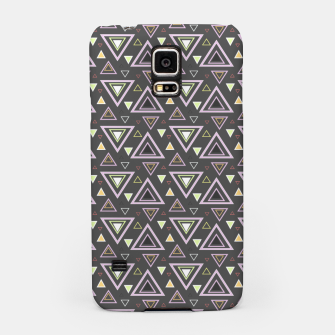 Thumbnail image of Ash gray triangles pattern, geometric artwork with colorful shapes precisely arranged Samsung Case, Live Heroes