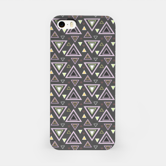 Thumbnail image of Ash gray triangles pattern, geometric artwork with colorful shapes precisely arranged iPhone Case, Live Heroes