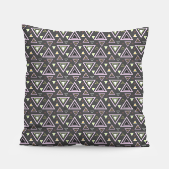 Thumbnail image of Ash gray triangles pattern, geometric artwork with colorful shapes precisely arranged Pillow, Live Heroes