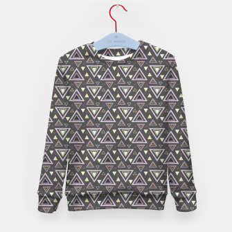 Thumbnail image of Ash gray triangles pattern, geometric artwork with colorful shapes precisely arranged Kid's sweater, Live Heroes