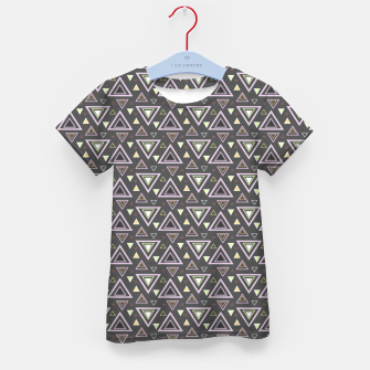 Thumbnail image of Ash gray triangles pattern, geometric artwork with colorful shapes precisely arranged Kid's t-shirt, Live Heroes