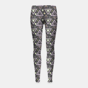 Thumbnail image of Ash gray triangles pattern, geometric artwork with colorful shapes precisely arranged Girl's leggings, Live Heroes