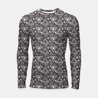 Thumbnail image of Ash gray triangles pattern, geometric artwork with colorful shapes precisely arranged Longsleeve rashguard , Live Heroes