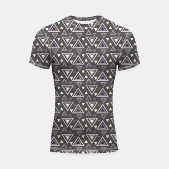 Miniaturka Ash gray triangles pattern, geometric artwork with colorful shapes precisely arranged Shortsleeve rashguard, Live Heroes