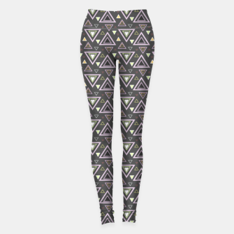 Miniaturka Ash gray triangles pattern, geometric artwork with colorful shapes precisely arranged Leggings, Live Heroes