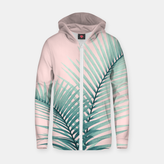 Thumbnail image of Intertwined - Palm Leaves in Love #2 #tropical #decor #art Reißverschluss kapuzenpullover, Live Heroes