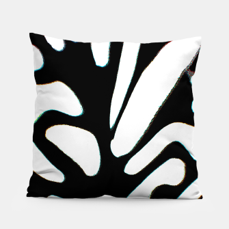 Miniatur black and white abstract geometric digital art Pillow, Live Heroes