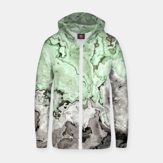 Thumbnail image of grey and green marble abstract digital painting Zip up hoodie, Live Heroes