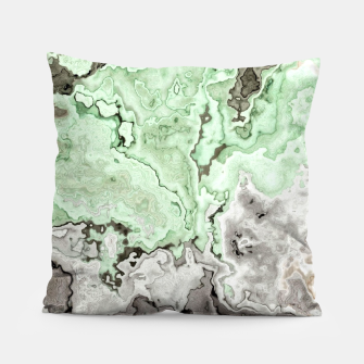 Thumbnail image of grey and green marble abstract digital painting Pillow, Live Heroes