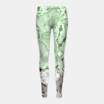 Thumbnail image of grey and green marble abstract digital painting Girl's leggings, Live Heroes