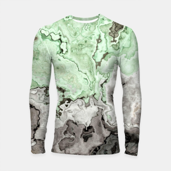 Thumbnail image of grey and green marble abstract digital painting Longsleeve rashguard , Live Heroes