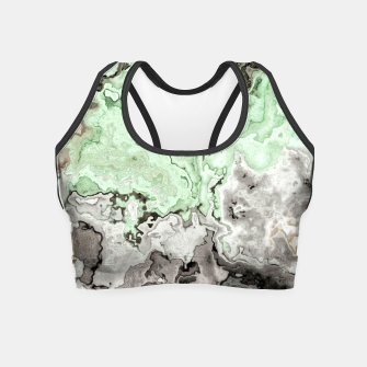 Thumbnail image of grey and green marble abstract digital painting Crop Top, Live Heroes