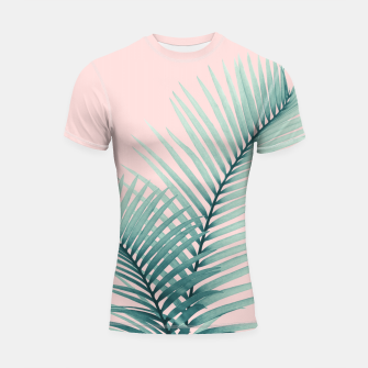 Miniaturka Intertwined - Palm Leaves in Love #2 #tropical #decor #art Shortsleeve rashguard, Live Heroes