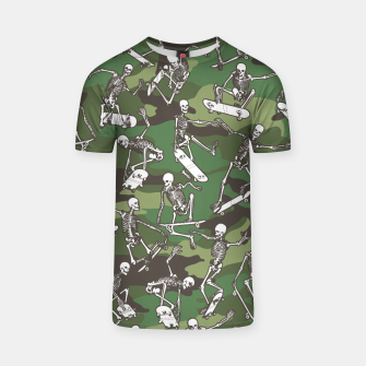 Thumbnail image of Grim Ripper Skater Camo WOODLAND GREEN T-shirt, Live Heroes