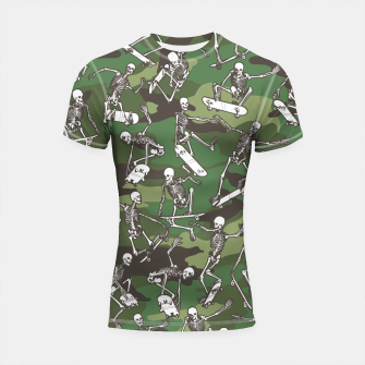 Thumbnail image of Grim Ripper Skater Camo WOODLAND GREEN Shortsleeve rashguard, Live Heroes