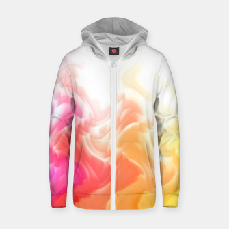 Thumbnail image of Rainbow smoke falling down, positive energy colorful pattern glitch Zip up hoodie, Live Heroes