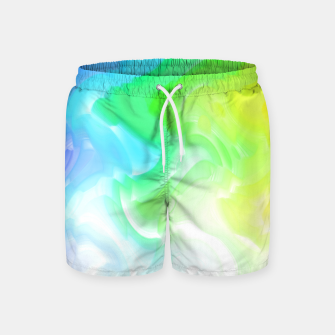 Thumbnail image of Rainbow smoke falling down, positive energy colorful pattern glitch Swim Shorts, Live Heroes