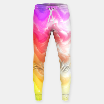 Thumbnail image of Rainbow smoke falling down, positive energy colorful pattern glitch Sweatpants, Live Heroes