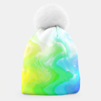 Thumbnail image of Rainbow smoke falling down, positive energy colorful pattern glitch Beanie, Live Heroes