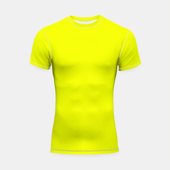 Thumbnail image of Pantone Safety Yellow neon bright stylish pure color Shortsleeve rashguard, Live Heroes