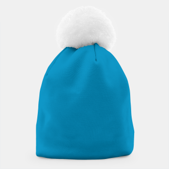Thumbnail image of Pantone neon color Atomic Blue navy pure colour fashion summer Beanie, Live Heroes