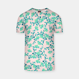 Thumbnail image of Turquoise Blush Mint Flower Pattern #1 #spring #floral #decor #art T-Shirt, Live Heroes