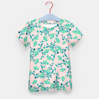 Miniaturka Turquoise Blush Mint Flower Pattern #1 #spring #floral #decor #art T-Shirt für kinder, Live Heroes