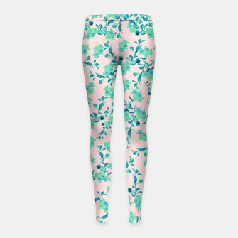 Miniaturka Turquoise Blush Mint Flower Pattern #1 #spring #floral #decor #art Kinder-Leggins, Live Heroes