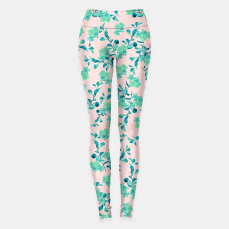 Miniaturka Turquoise Blush Mint Flower Pattern #1 #spring #floral #decor #art Leggings, Live Heroes