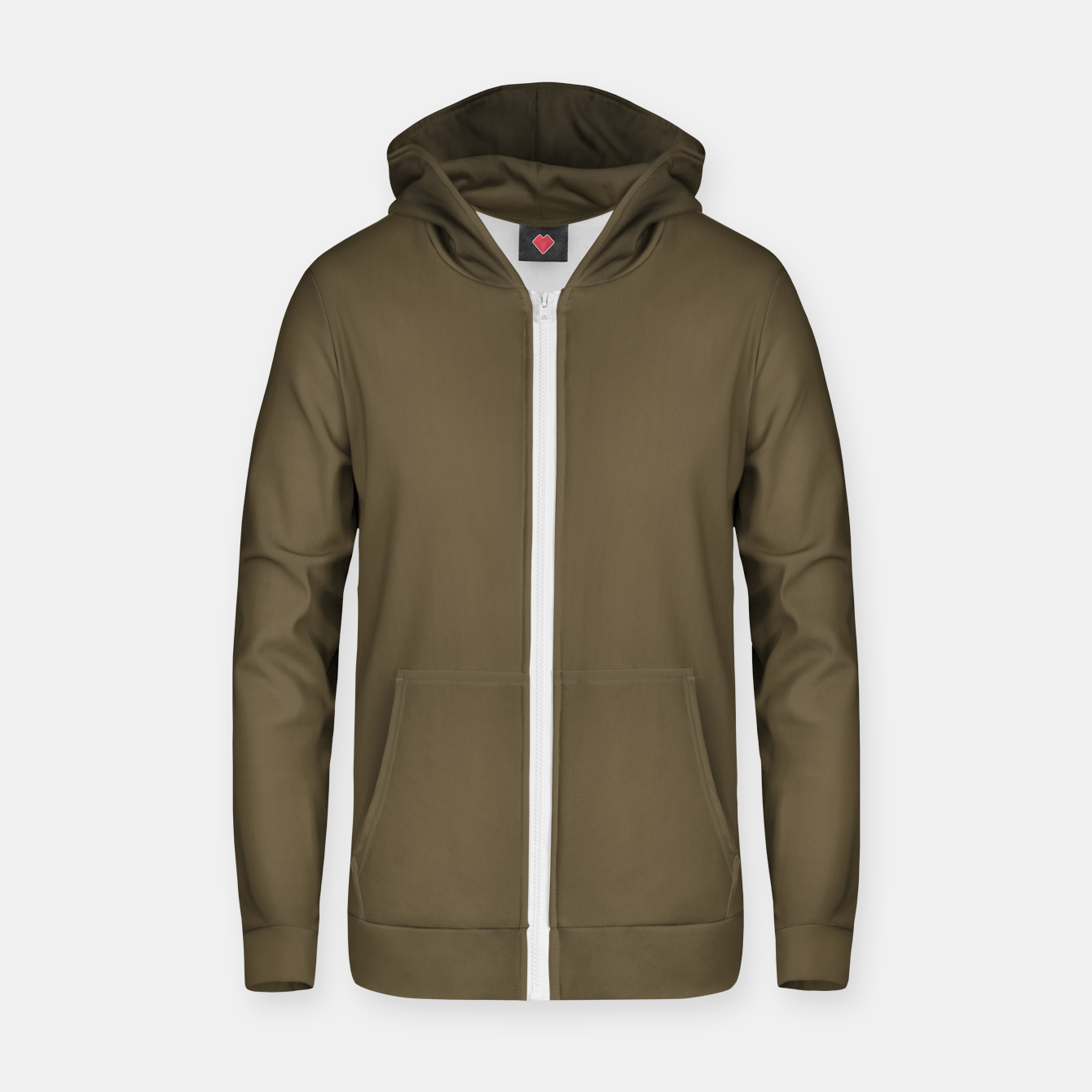 Image of Pantone Military Olive pure clear green tone dark colour Autumn/Winter 2020/2021 London Zip up hoodie - Live Heroes