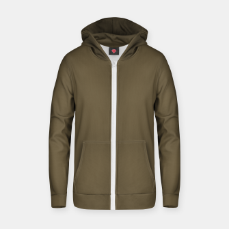 Thumbnail image of Pantone Military Olive pure clear green tone dark colour Autumn/Winter 2020/2021 London Zip up hoodie, Live Heroes