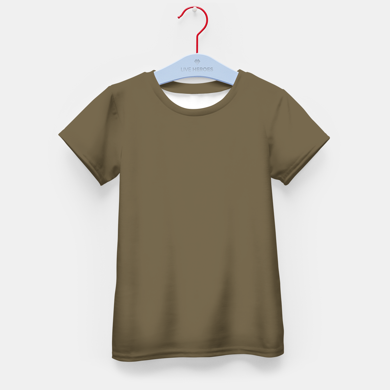 Image of Pantone Military Olive pure clear green tone dark colour Autumn/Winter 2020/2021 London Kid's t-shirt - Live Heroes