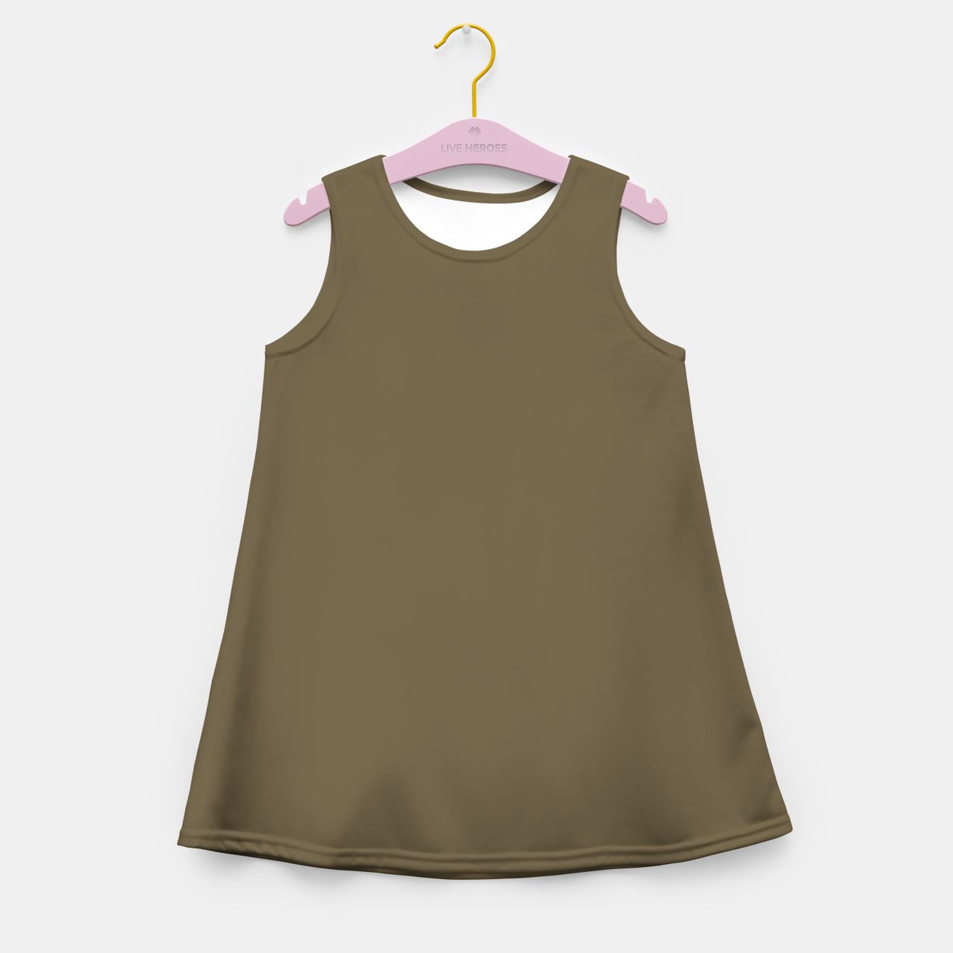 Image of Pantone Military Olive pure clear green tone dark colour Autumn/Winter 2020/2021 London Girl's summer dress - Live Heroes