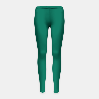 Thumbnail image of Pantone Ultramarine Green pure clear turquoise tone colour Autumn/Winter 2020/2021 London Girl's leggings, Live Heroes