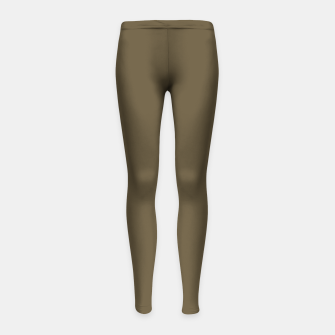 Thumbnail image of Pantone Military Olive pure clear green tone dark colour Autumn/Winter 2020/2021 London Girl's leggings, Live Heroes