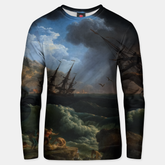 Thumbnail image of A Shipwreck in Stormy Seas (Tempête) by Claude Joseph Vernet Unisex sweater, Live Heroes
