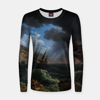 Thumbnail image of A Shipwreck in Stormy Seas (Tempête) by Claude Joseph Vernet Women sweater, Live Heroes