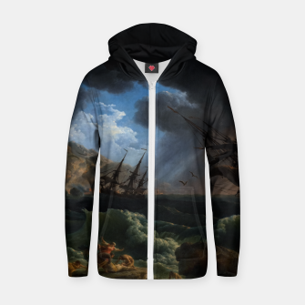 Thumbnail image of A Shipwreck in Stormy Seas (Tempête) by Claude Joseph Vernet Zip up hoodie, Live Heroes