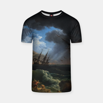 Thumbnail image of A Shipwreck in Stormy Seas (Tempête) by Claude Joseph Vernet T-shirt, Live Heroes