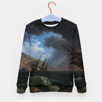 Thumbnail image of A Shipwreck in Stormy Seas (Tempête) by Claude Joseph Vernet Kid's sweater, Live Heroes