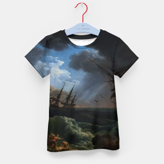 Thumbnail image of A Shipwreck in Stormy Seas (Tempête) by Claude Joseph Vernet Kid's t-shirt, Live Heroes