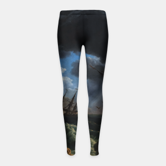 Thumbnail image of A Shipwreck in Stormy Seas (Tempête) by Claude Joseph Vernet Girl's leggings, Live Heroes