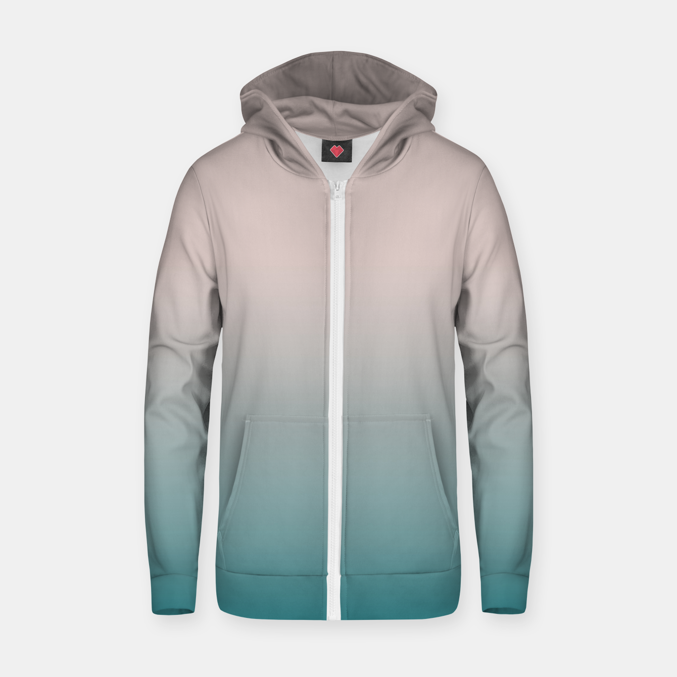 Image of Smooth gradient neutral colors fashion simple color beige blue background Zip up hoodie - Live Heroes