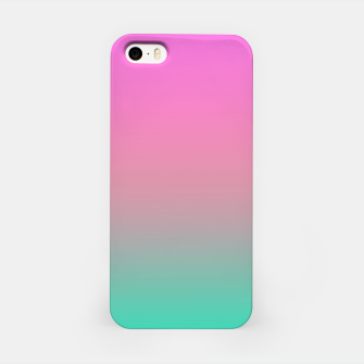 Miniature de image de Smooth gradient summer colors fashion simple color pink blue background iPhone Case, Live Heroes